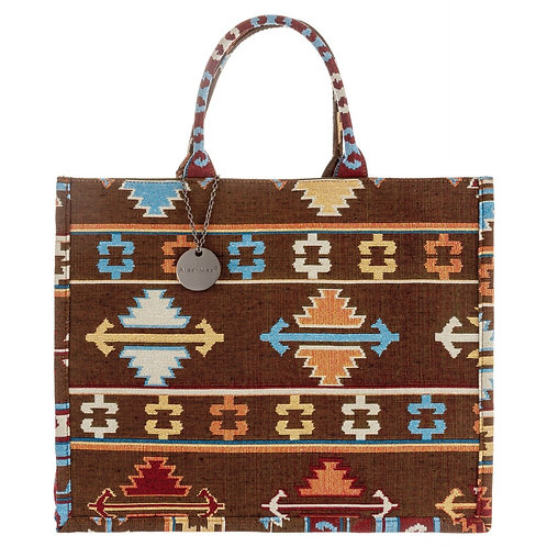 Azteken Book Tote Bag Large Braun Beige