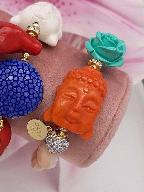 SPRECIOUS  Bambuskoralle Buddha Pave Armband