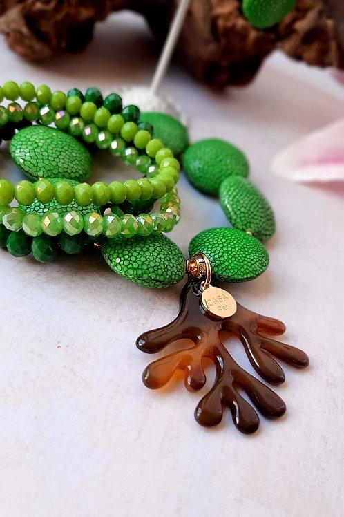 SPRECIOUS Rochenleder Armband Brown Coral