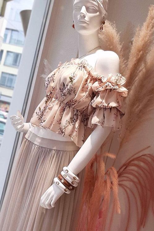 Cashmere Flower Girly Crop Bluse