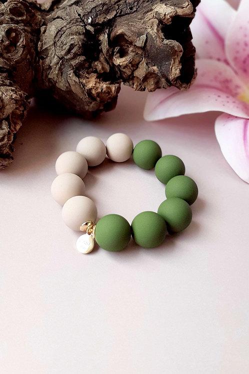 Candy Armband Grün / Beige