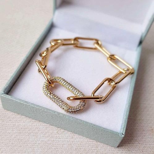 Edelstahl DE Luxe Armband Pave Gold