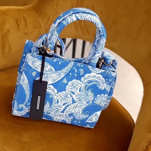 Original ANOKHI Bag Large Blue Toile de Jouy