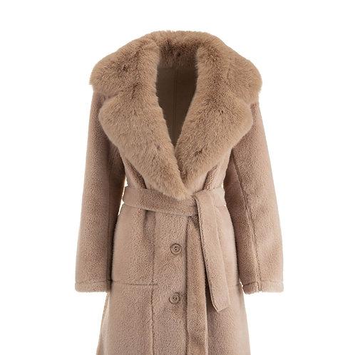 De Luxe Plumy Coat Fake Fur Beige