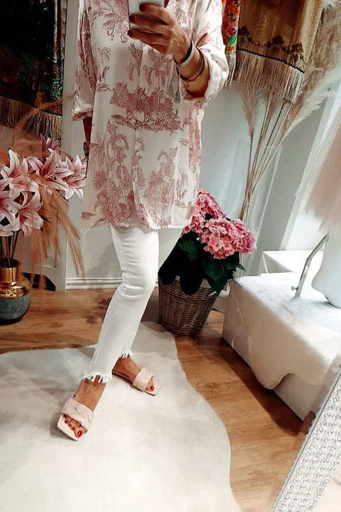 Super Frill Jeans Used Look Weiß