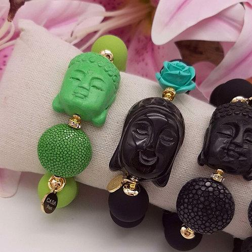 SPRECIOUS Buddha Rochenleder Armband Pistazie