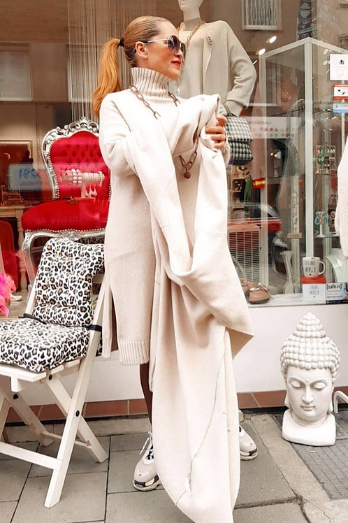 Casual Cashmere Touch Kleid Creme