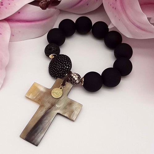 SPRECIOUS Cross Horn Rochenleder Armband Schwarz