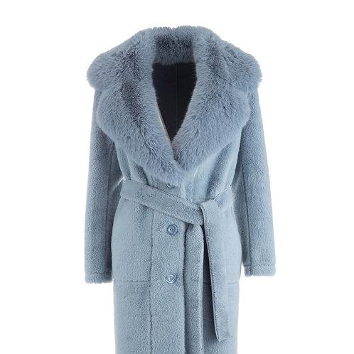 De Luxe Plumy Coat Fake Fur Light Blue