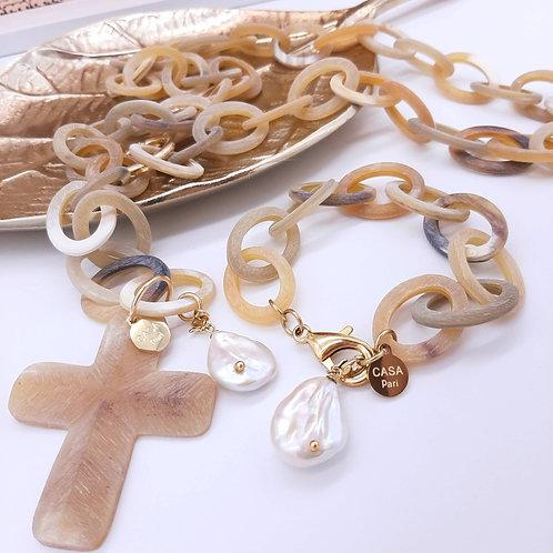 GOLDEN SHINE Armband echte Perle Büffelhorn