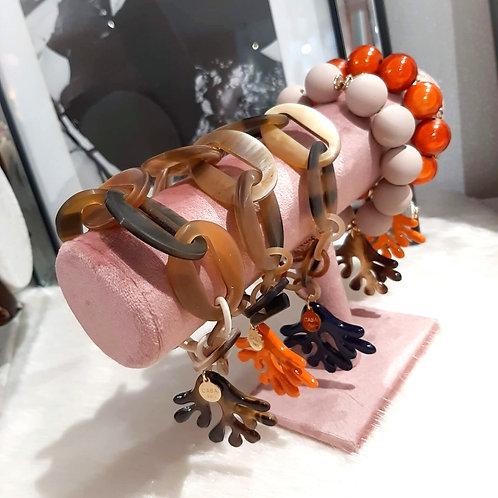 Big Coral Armband Büffelhorn