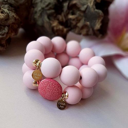 Candy Rochenleder Armband Rosa / Set Gold oder Silber