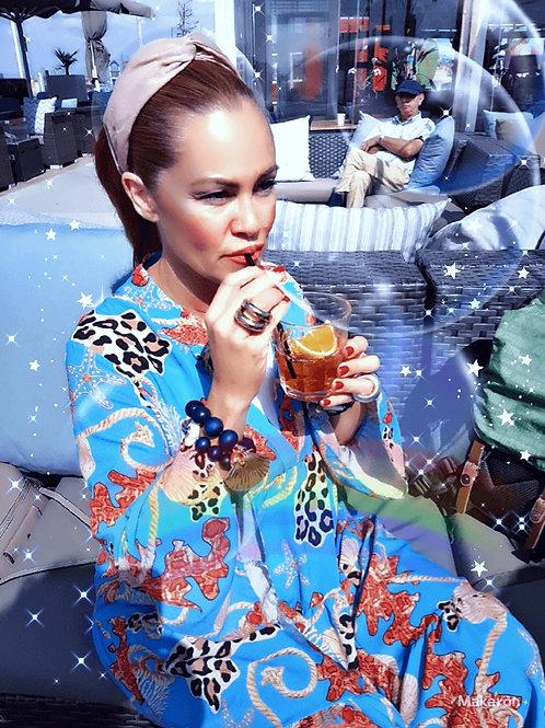SANTORINI BLUE CORAL MAXI SUMMER Dress