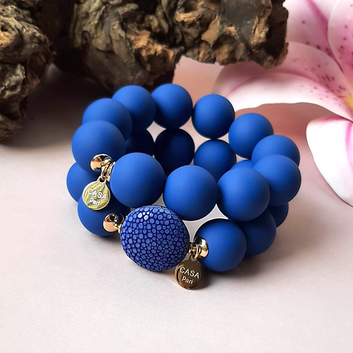 Candy Rochenleder Armband Blau / Set Gold oder Silber