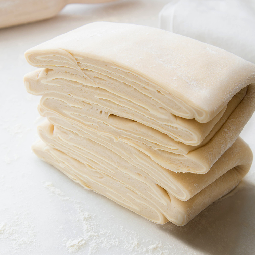 puff pastry dough raw rolled out