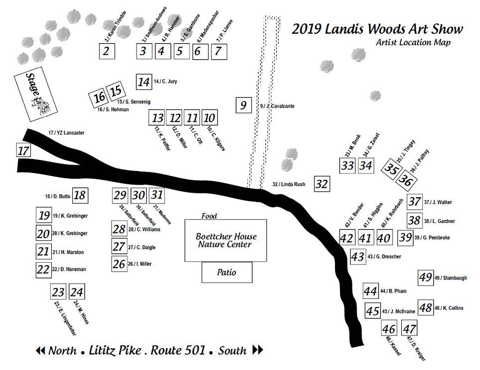 2019 Landis Woods Art Show Artists Locat