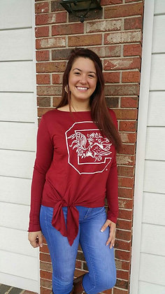 Gamecock L/S Tie Front Top (Garnet)