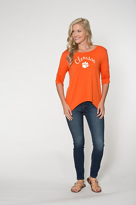 Clemson Game Day High and Low Quarter Sleeve Top