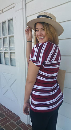 Striped Gamecock Ladies V-neck Top