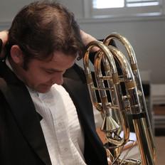 Josh Kubasta, Bass Trombone getting ready