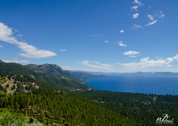 A view of Lake Tahoe from the top of the mountains
