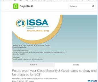 ISSA Bright talk webinar on Future proof your cloud security strategies
