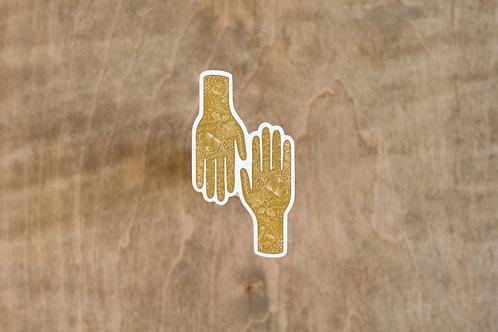 Hand in Hand Sticker - Gold