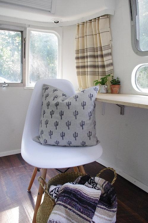 Grey Cactus Pillow Cover