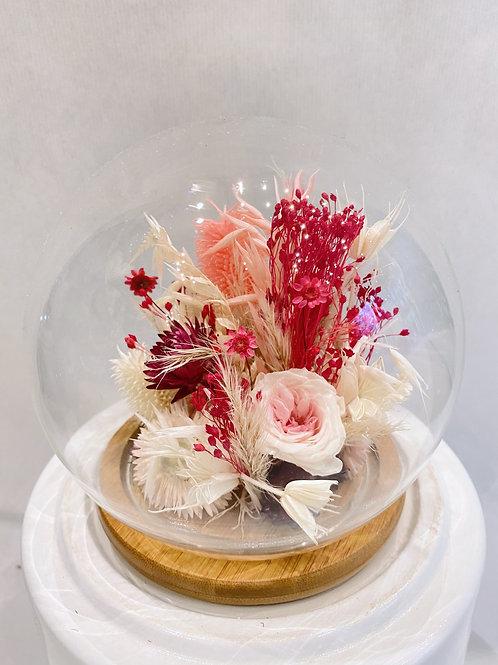 Cloche de fleur séchée rose