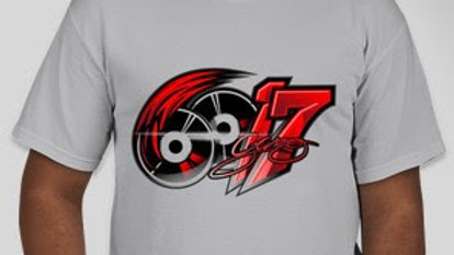 6017 Icy Grey And Red Tee