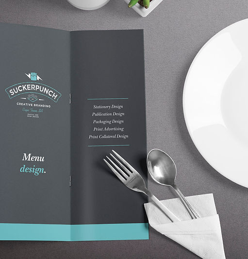 logo design, menu design, stationery, graphic design, cape town, suckerpunch,