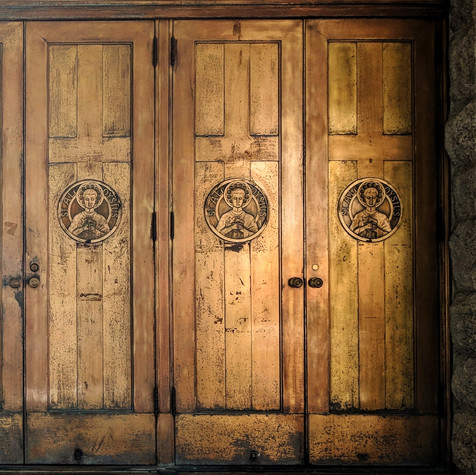 The doors of St. Aloysius Catholic Church.