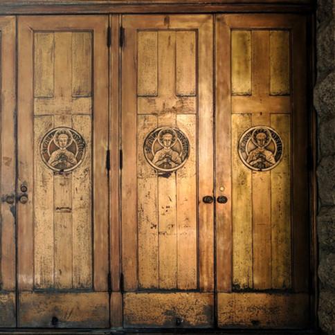 The doors of St. Aloysius Catholic Church.