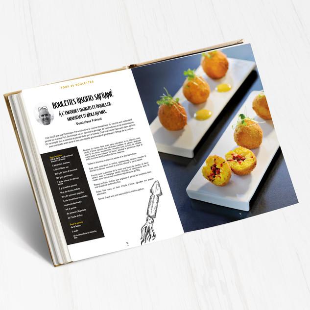 Boulettes risotto safrané a l'encornet chorizo et piquillos mousseux d'aioli au miel