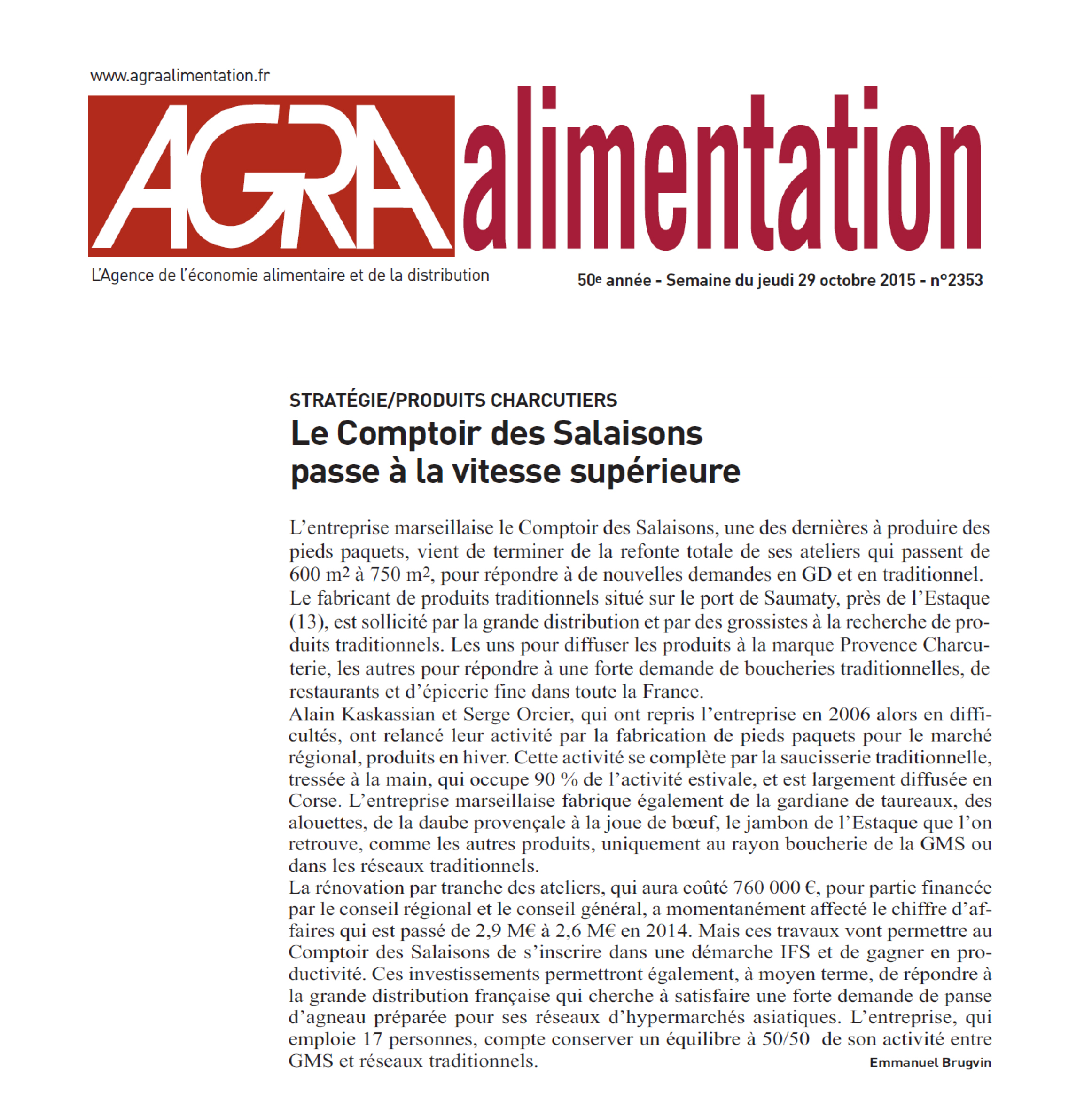 Article Agra- alimentation 26 octobre 2015