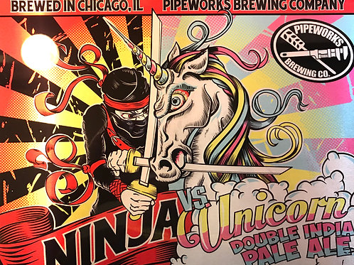 Ninja vs. Unicorn Metal Print