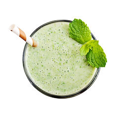 Fresh avocado smoothie with lime, spinac