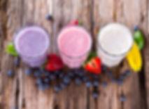 Fresh milk, strawberry, blueberry and ba