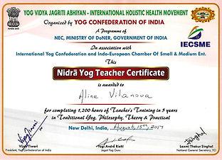 Certificat de Professeur Nidrâ Yoga 2017