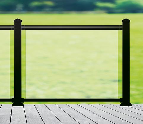 Aluminum Railing with Glass Panels (Black)