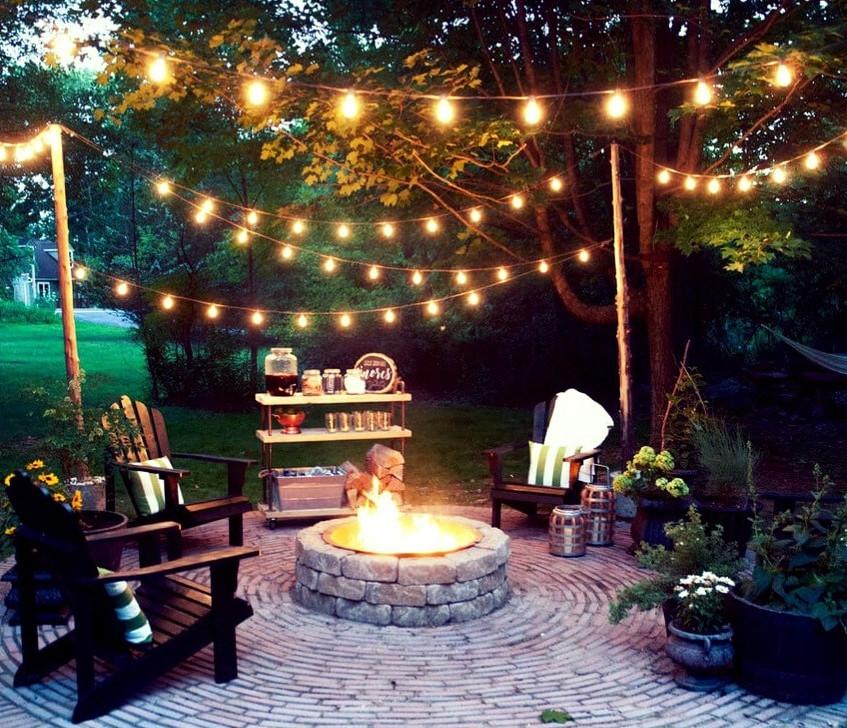 Backyard Light Feature For Fire pit