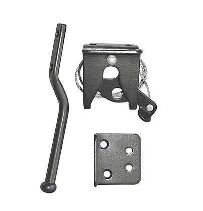 Wooden Gate Hardware -  Spring Loaded Latch & Catch with Cable (LCWSLBLK)