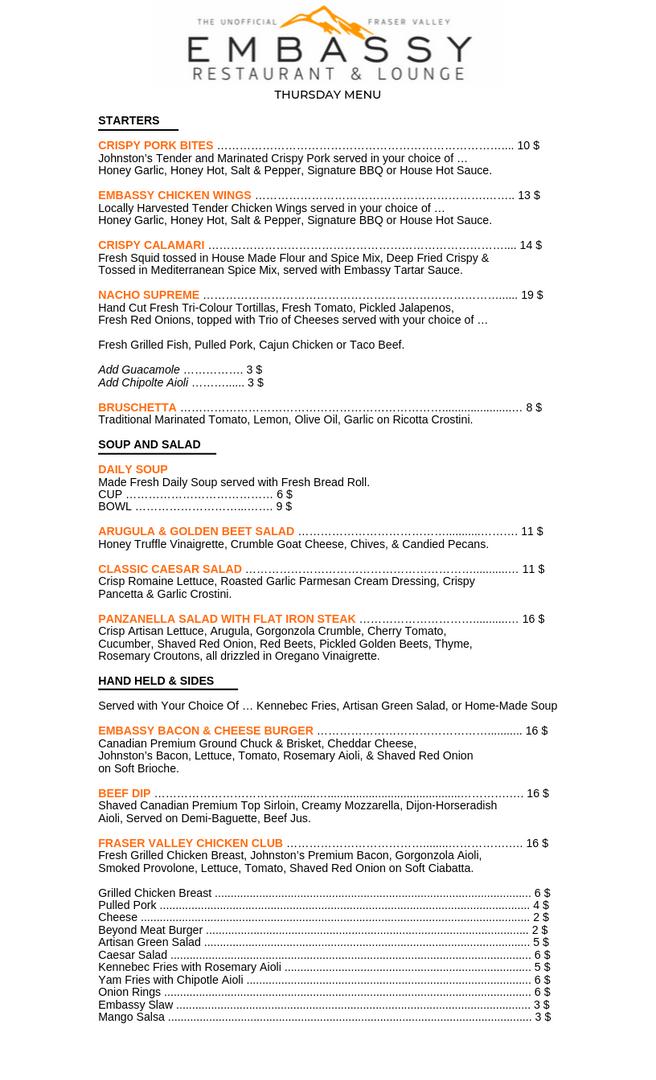 Pasta Thursday Menu Page 1 - September 2