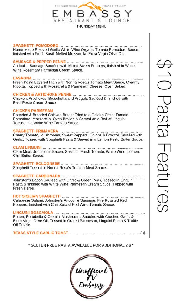 Pasta Thursday Menu Page 2 - September 2