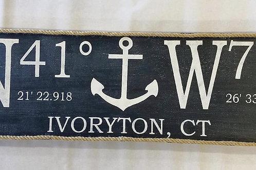 GPS Anchor Wooden Sign & Jute 12x36