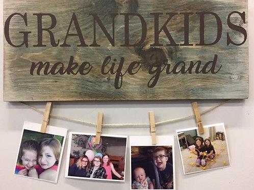 Grandkids Wooden Sign 12x30 Framed