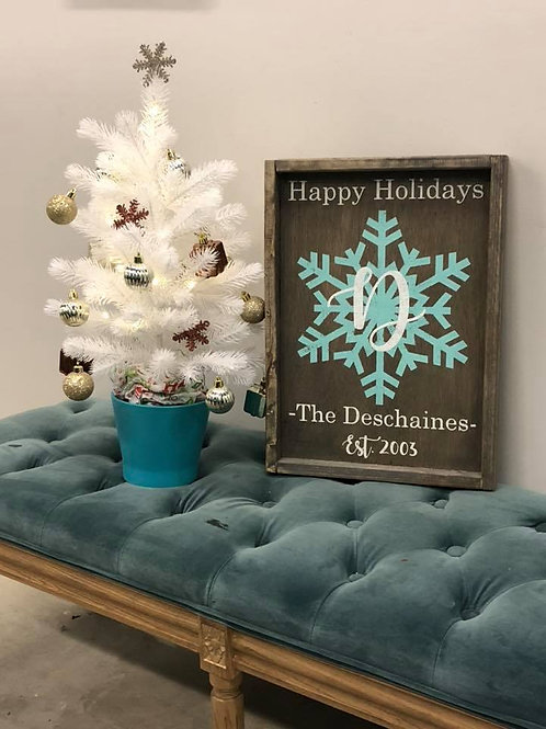 Snowflake Wooden Sign 14x18 Framed
