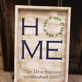 Home Wreath Wooden Sign 14x18 Framed