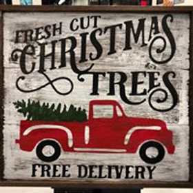 Christmas Truck Wooden Sign 26x26 Framed