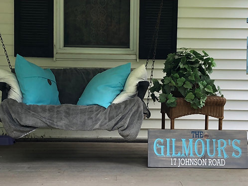 Name & Address Wooden Sign 12x30